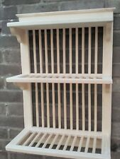 WOODEN  PLATE RACK HANDMADE BY CRAFTSMAN 72cm h x  50cm w WALL MOUNTED NEW LINE