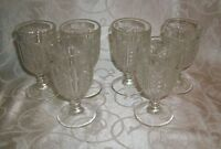 Lot of 6 Vintage Wafer Design Pressed Glass Miniature Sherry/Wine Goblets