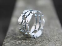 Unique hollow cut solid silver fish ring Boho fish jewellery Gift for her