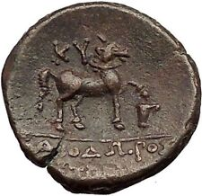 KYME in AEOLIS 250BC Amazon Horse Vase Authentic Rare Ancient Greek Coin i57274