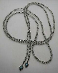 "OOAK Sterling Silver Herkimer Diamond Bead Swiss Blue Topaz Lariat Necklace 68"""