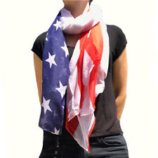 Patriotic USA American Flag Red White Scarf Scarves Sheer Lightweight