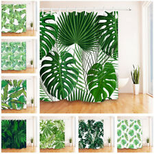Tropical Leaves Waterproof Polyester Shower Bathroom Curtain Hooks Watercolor