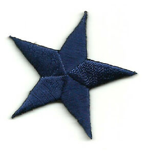 "( ONE DOZEN - 12 ) 1 1/4""(3.2cm) NAVY BLUE EMBROIDERED STARS IRON ON PATCHES"