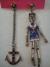 Betsey Johnson Ivy League Sailor Skeleton Girl & Anchor Earrings $55 *Authentic*