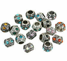 New tibetan silver tone Pattern amber crystal Connector for bracelet 10 pcs