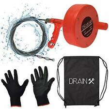 Plumbing Snake Drain Auger 25 Ft Drain Cleaning Cable With Work Gloves And
