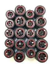 10 sets 5 star big/small Red Chrome long axle fit 1:64 hot wheels rubber tires