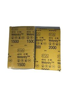 3M WET OR DRY SANDPAPER MIXED 10 PACK 1500 Grit and 2000 Grit 5 Sheets of Each