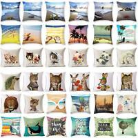 Cute Cat Ocean Beach Throw Pillowcase Pillow Cover Sofa Cushion Cover Home Decor