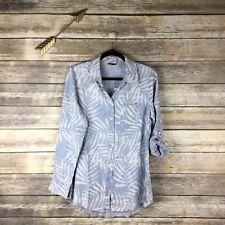 Soft Surroundings Women's Sz S Long Sleeve Button Down Palm Leaf Print Shirt New