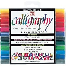 New Zig Kuretake Calligraphy Pen 12 Color Set TC-3100/12V F/S From Japan