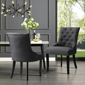 2 4 Tufted Grey Dining Chairs Curved Button Upholstered Scoop Side Chairs Fabric
