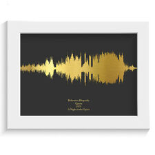 GOLD FOIL MUSIC LYRICS SOUND WAVES GIFT PRINT ANY SONG any colour