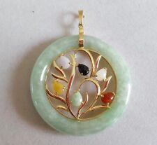 14k Yellow Gold Green Jade Tree of Life Circle Pendant Enhancer