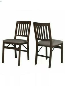 2 Pack, Stakmore Solid Wood Folding Chairs, Espresso Finish, Padded Seat - NEW