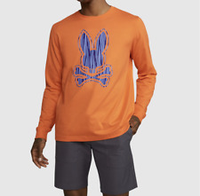 Psycho Bunny Mens Kendal Long Sleeve Tee- Brilliant Orange-Nwt-B6T340Q1Pc