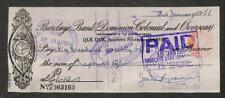 BILL OF EXCHANGE SOUTHERN RHODESIA BARCLAYS BANK CHECK REVENUE STAMPS 1951