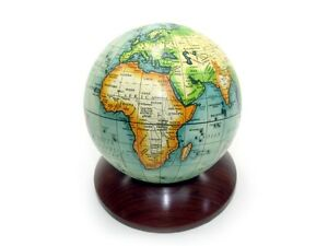 Globus auf Holz-Sockel - Weltkugel Erde Erdball  sc-9354