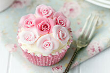 STUNNING SHABBY CHIC CUPCAKE BAKING CANVAS #867 WALL HANGING PICTURE ART A1