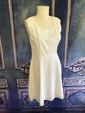 NWT Max Studio Circle Eyelet Lace Dress SZ 8 Scoop Piping Cotton Summer $128