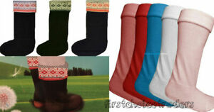 Women Wellie Warmers Ladies Fleece Wellington Boot Socks Liners Aztec Size 4-7