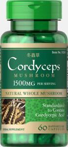 Puritans Pride Cordyceps Sinensis Mushroom Herbal Supplement 1500mg 60-Caps