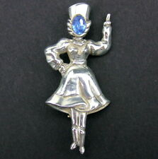 Signed Vintage Norma Sterling Pin Brooch Woman Dancer Russian Cossack Blue Face