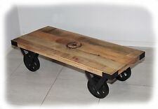 Wheelie 1200x500 Rustic Solid Mango Hardwood Trolley Coffee Table - BRAND NEW