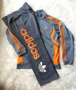 Adidas track suit Men's L pants/jacket jogger set grey/orange NICE