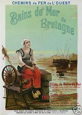 H COLB AFFICHE ANCIENNE CHEMIN DE FER DE L'OUEST BAINS DE MER  BRETAGNE cir 1900