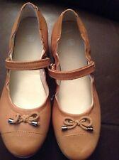 New🌹Clarks🌹UK Size 5 F Fit Girls JNR Tan Leather Pumps Ballerina Shoes 38EU