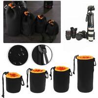 Waterproof Soft Neoprene Camera Lens Pouch Fleece Bag Drawstring Protector Bags
