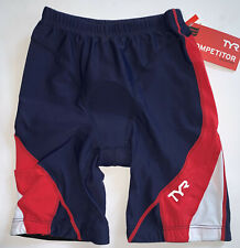 """TYR Mens Small Blue Red White Shorts 9"""" Triathlon Exercise Bike Pad USA Made New"""