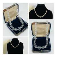 Vintage Necklace Graduated Faceted Glass Bead Collar Length Sparkly Retro Kitsch