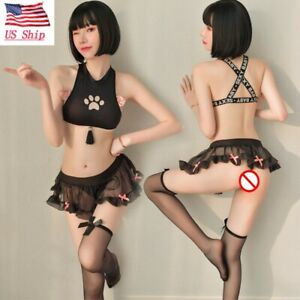 US Womens Sexy Lingerie Cosplay Underwear Cat Girl Bra Skirt Stockings Sleepwear