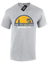 AMITY ISLAND (COL) MENS T-SHIRT JAWS QUINTS SHARK RETRO VINTAGE MOVIE (COL)