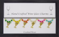 Cocktail Hour Set of 6 Wine Glass Charms Handmade Just for You