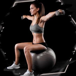 Exercise/Yoga Ball Extra Thick Yoga Ball Chair, Anti-Burst - Grey 65cm