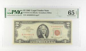 1963 $2 FR1513 (AA Block) Red Seal Graded PMG - 65 EPQ Legal Tender *626