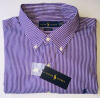 Polo Ralph Lauren Men's  stripe Purple classic Fit Shirt Short Sleeve size L-XL
