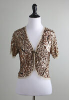 ANTHROPOLOGIE NWT $98 Moyna Sheer Mesh Sequin Cropped Jacket Top Size Small
