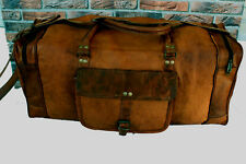 Leather Bag Unisex Vintage Duffle Weekend Luggage Overnight Travel Bag Gym Large