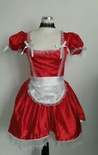 Phaze Clothing red satin look French Maid fancy dress costume size 12 New