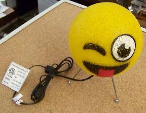 Crazy Face Emoji emoticon night light desktop table lamp kids teen decor corded