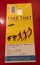 Take That Ticket Progress Live Tour 2011 Hampden Park, Glasgow 23 June