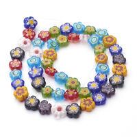 1Strand Handmade Millefiori Glass Beads Flower Mixed Color 8~10mm for Bracelet