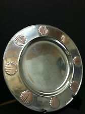 """RWP WILTON ARMATALE PEWTER PLATE WITH SHELL BORDER-12"""""""