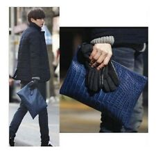Fashion Men Crocodile Pattern Leather Document Briefcase Clutch Messenger Bags