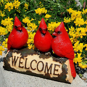 Beautiful Vibrant Red Cardinals WELCOME sign statue for Home,Garden Decor & Gift